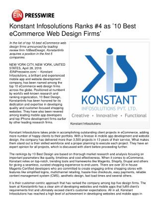 Konstant Infosolutions Ranks #4 as '10 Best eCommerce Web Design Firms'