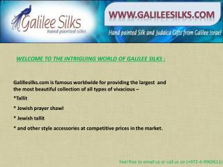 Talliit, jewish tallit and prayer shawl at galileesilks.com