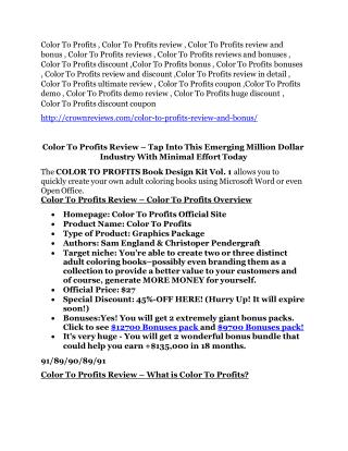 Color To Profits review-- Color To Profits (secret) bonuses