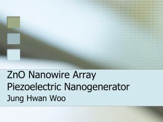 ZnO Nanowire Array Piezoelectric Nanogenerator