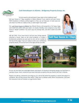Cash Homebuyers in Atlanta - Bridgeway Property Group, Inc.