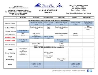 May 2016 Class Schedule