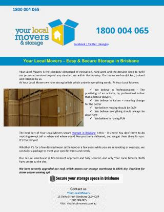 Your Local Movers – Easy & Secure Storage in Brisbane