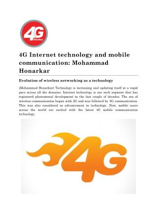 About 4G Internet technology by Mohammad Honarkar
