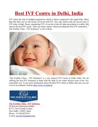 Best IVF Centre in Delhi, India