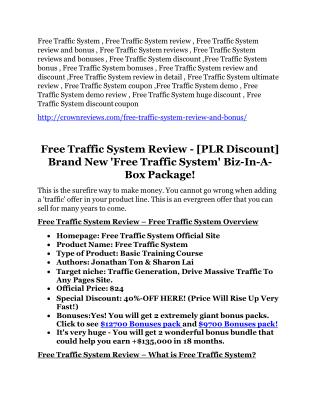 Free Traffic System review and (free) Free Traffic System $24,700 bonus