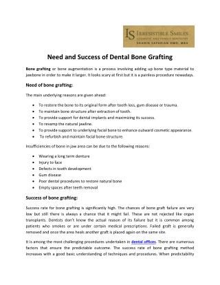 Need and Success of Dental Bone Grafting