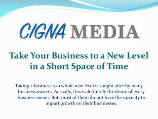 Take Your Business to a New Level in a Short Space of Time