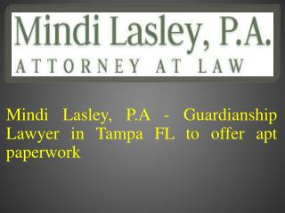 Mindi Lasley, P.A - Guardianship Lawyer in Tampa FL to Offer Apt Paperwork