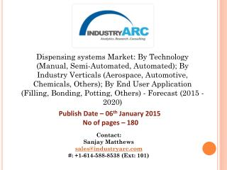 Global dispensing systems market is estimated to reach $6,995.6 Million by 2020