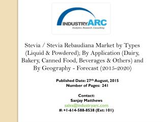 Stevia Rebaudiana Market: Shooting Rates of Sugar Production acts as a Root Driving Cause of the Global Stevia Market.