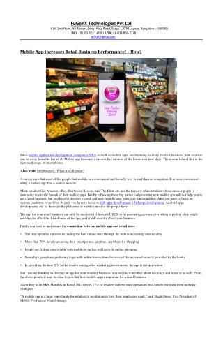 Mobile App Increases Retail Business Performance! � How?