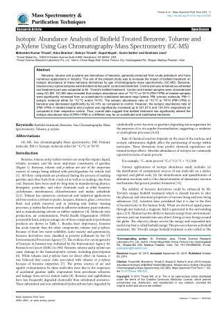 GC-MS Analysis of Benzene, Toluene & p-Xylene