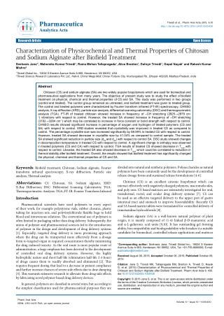 Characterization of Physicochemical and Thermal Properties of Chitosan and Sodium Alginate after Biofield Treatment
