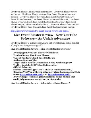 Live Event Blaster Review & HUGE $23800 Bonuses