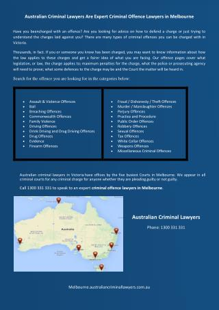 Australian Criminal Lawyers Are Expert Criminal Offence Lawyers in Melbourne