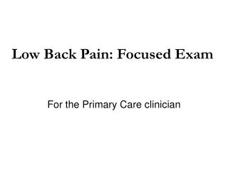 For the Primary Care clinician