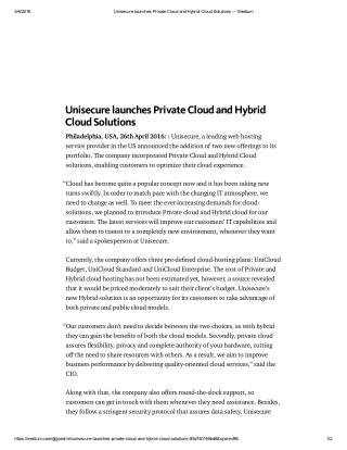 Unisecure launches Private Cloud and Hybrid Cloud Solutions