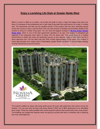 Enjoy a Lavishing Life Style at Greater Noida West
