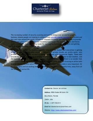 Hire a Private Aircraft Charter Service in USA