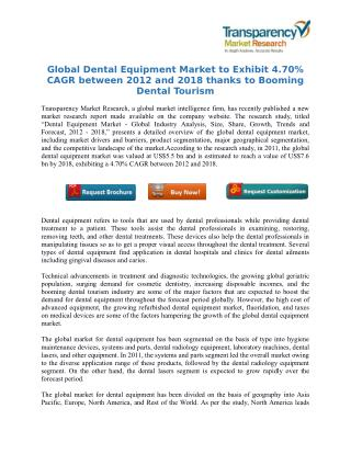 Global Dental Equipment Market to Exhibit 4.70% CAGR between 2012 and 2018 thanks to Booming Dental Tourism