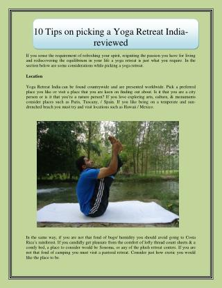 10 Tips on picking a Yoga Retreat India-reviewed