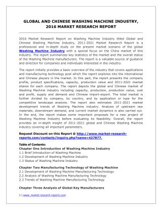 Global Washing Machine Market Analysis for Application, Strategies and Forecasts to 2021