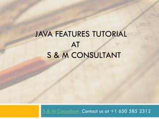 Java features tutorial at S & M Consultant