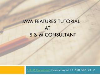Java features tutorial at S & M Consultant
