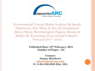 Environmental Testing Market: Growing number of environmental laboratory being set-up globally.