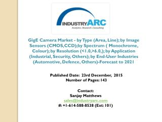 GigE Camera Market projected to hold APAC as the fastest growing region until forecast period 2021.