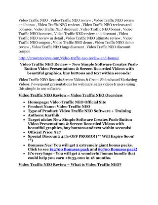 Video Traffic NEO review and (GET)  100 items bonus pack