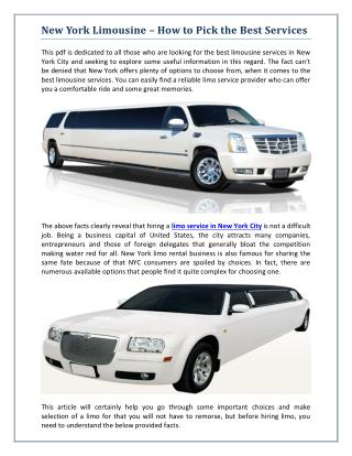 New York Limousine � How to Pick the Best Services