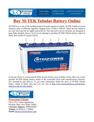 Buy M-TEK Tubular Battery Online