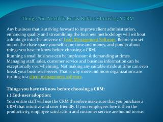 Things You Need To Know Before Choosing A CRM