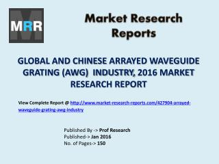 Global and Chinese Arrayed Waveguide Grating (AWG) Market Capacity, Production, Analysis and Forecasts to 2021