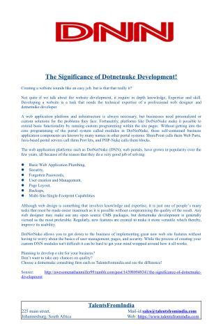 The Significance of Dotnetnuke Development!