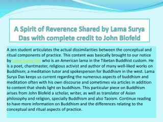 A Spirit of Reverence Shared by Lama Surya Das with complete credit to John Blofeld