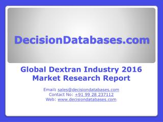 Worldwide Dextran Market 2016: Industry Trends and Analysis