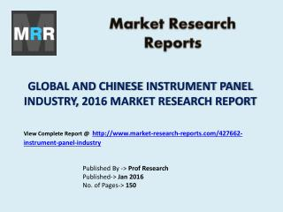 Analysis of Instrument Panel Market Shares for Global and Chinese Industry Forecasts to 2021