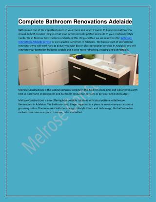 Bathroom Renovations Adelaide Service