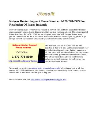 Call 1-877-778-8969 For Netgear Router Support Phone Number