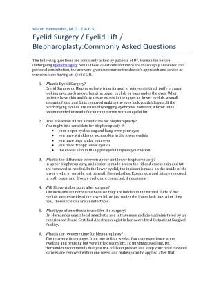 Eyelid Surgery: Commonly Asked Questions