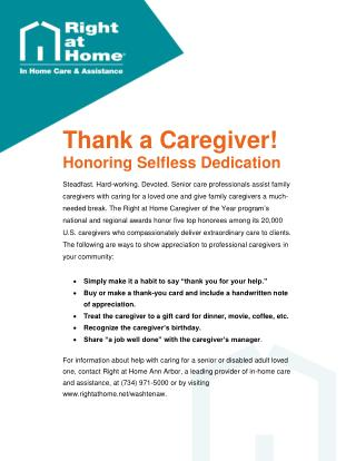 Caregiver of the Year Awards Honor Senior Care Providers