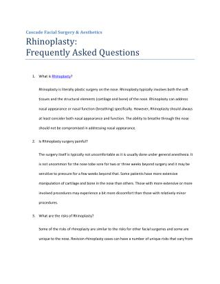 Rhinoplasty: Frequently Asked Questions