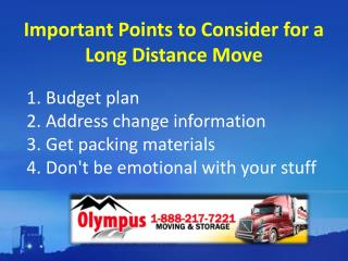 Important Points to Consider for a Long Distance Move