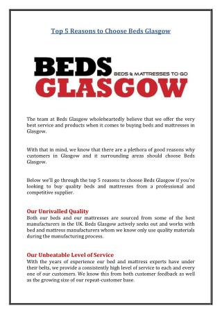 Top 5 Reasons to Choose Beds Glasgow