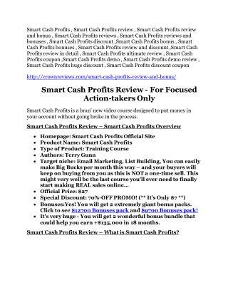 Smart Cash Profits review in detail – Smart Cash Profits massive bonus