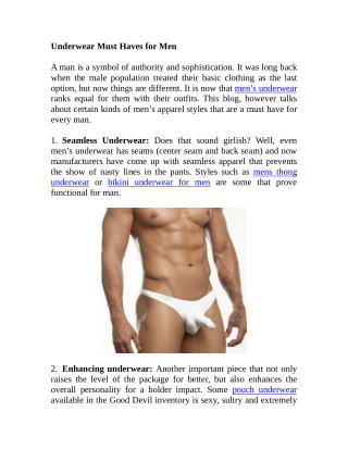 Underwear Must Haves for Men