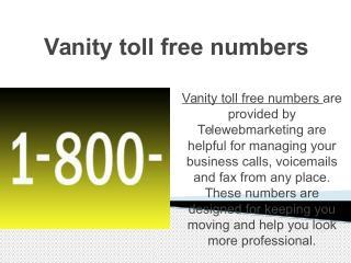 Vanity toll free numbers
